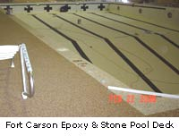 Fort Carson epoxy and stone pool deck